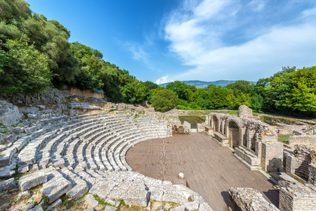 Ancient theater in the ruins of Butrint in southern Albania