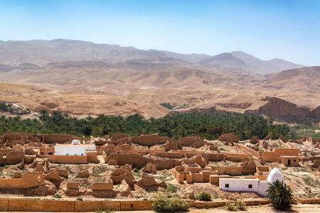 Oasis and ruined village of Tamerza in Tunisia