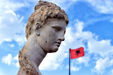 The Goddess of Butrint. Head sculpture in Butrint, Albania