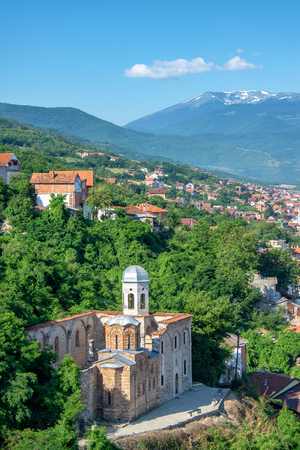 Church of the Holy Savior with the Accursed Mountains in the background in Prizren, Kosovo