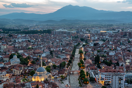 Beautiful cityscape view of Prizren, Kosovo taken just after sunset with Sinan Pasha Mosque on the bottom left