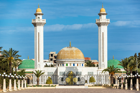 Beautiful exterior of the Habib Bourguiba Mausoleum in Monastir, Tunisia