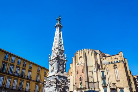 Historic architecture in Saint Dominic Plaza in beautiful Naples, Italy Stock Photo