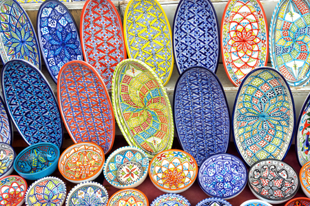 Colorful plates and bowls for decoration for sale in Sidi Bou Said, Tunisia