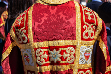 Red and gold vestments used during Holy Week in Seville, Spain