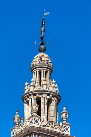 Closeup view of La Giralda bell tower on the cathedral in Seville, Spain