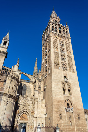 La Giralda bell tower and Seville Cathedral in Seville, Spain