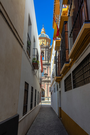 Vertical view of the church of San Luis de los Franceses in the historic center of Seville, Spain