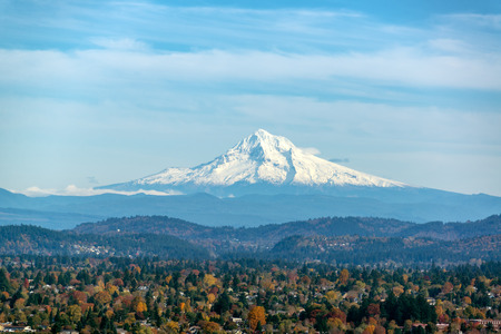 View of Mt. Hood and forest covered hills as seen from Portland, Oregon