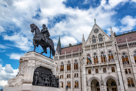 Gyula Andrassy equestrian statue in front of the Hungarian parliament in Budapest, Hungary