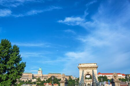 Budapest cityscape with Szechenyi Chain Bridge and National Gallery