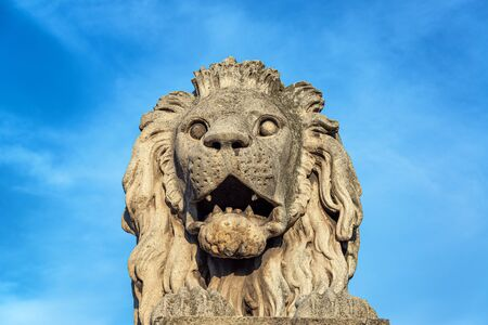 Closeup view of a lion on the Szechenyi Chain Bridge in Budapest, Hungary