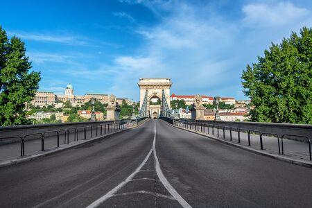 Beautiful view of the Szechenyi Chain Bridge in Budapest, Hungary Stok Fotoğraf