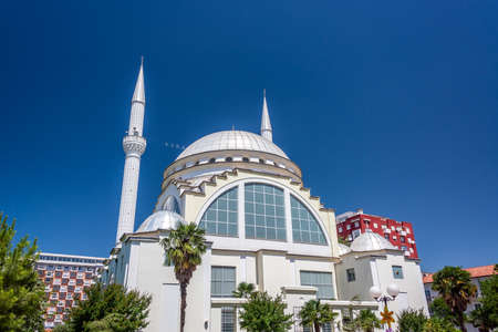 View of the Ebu Beker mosque in Shkoder, Albania with a beautiful blue sky