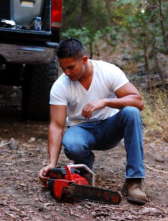 Image of male with chainsaw Stock Photo - 7944488
