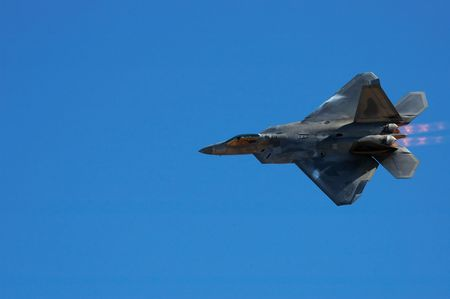 jet fighter: Image of F-22 Raptor during airshow