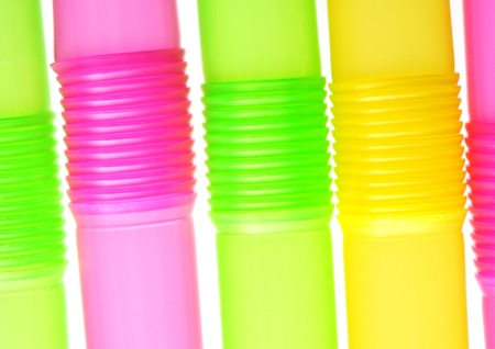 Close up image of colored straws Stock Photo