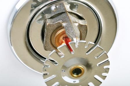 retardant: Close up immagine di spruzzatore del fuoco sul bianco. Sprinkler antincendio sono parte di un sistema di tubazioni acqua integrato progettato per la sicurezza di vita e di fuoco. Archivio Fotografico