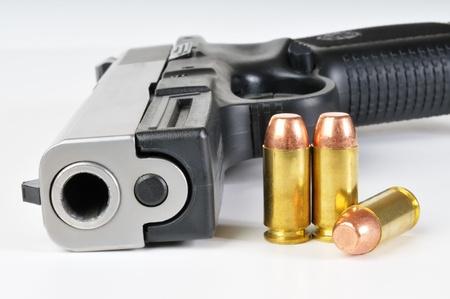 40 caliber pistol with ammunition photo