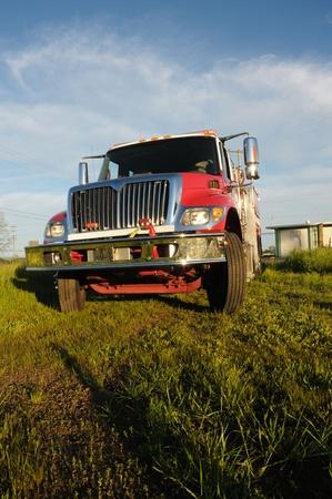 Image of fire truck in field