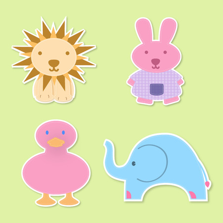 four baby animals , ideal for childs decoration Vector