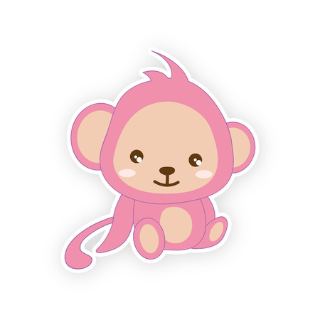 awaiting: Cute small monkey - illustration. (monkey, cartoon, animals)  Awaiting validation