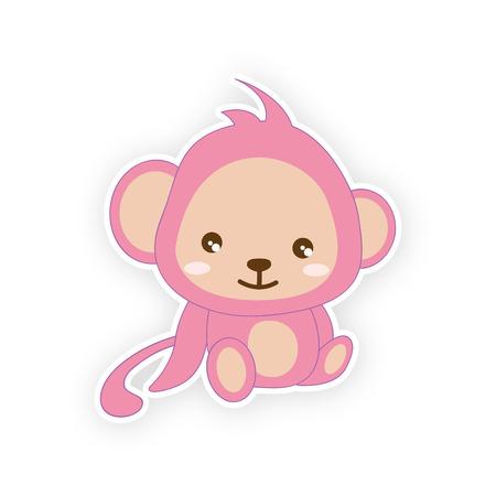 Cute small monkey - illustration. (monkey, cartoon, animals)  Awaiting validation