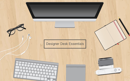 design vector illustration of modern creative office workspace, workplace of a designer, office various objects and equipment Isolated on stylish wood desk Stok Fotoğraf - 68293797