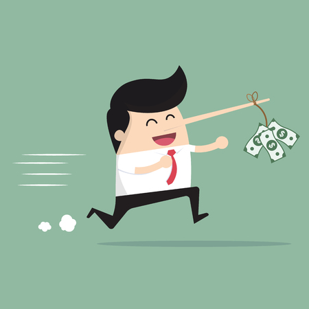 distract: Businessman with a long nose money on money as bait. vector