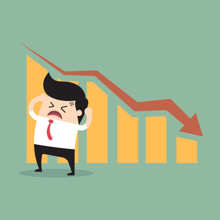 problem: The man with a beard with falling down chart is confused. Bankruptcy concept. Vector flat design illustration. Vertical layout with a text space in a top. Illustration