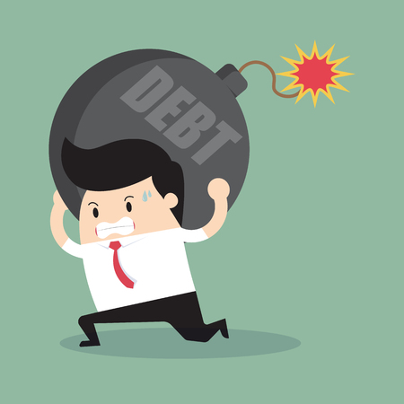 businessman bearing debt bomb.vector Illustration