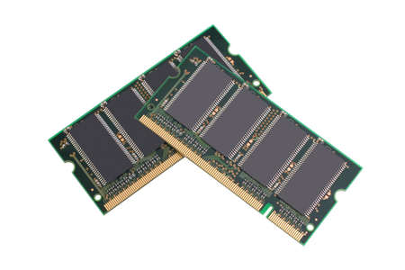 Computer memory chips isolated on white background