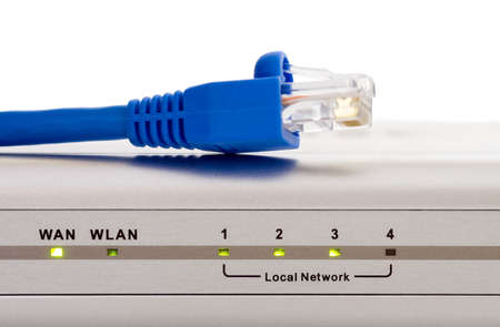 light transmission: Computer network router status lights with blue Cat 5 cable and RJ45 connnector