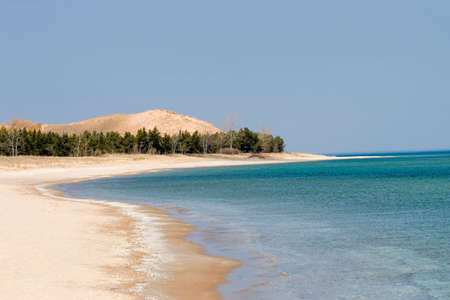 bear lake: The cold blue green waters of Sleeping Bear Dunes National Lakeshore on Lake Michigan