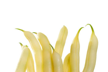 Fresh picked yellow wax beans standing vertical photo