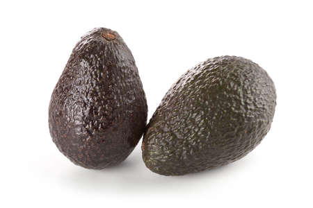 hass: Two whole hass avocados isolated on white background