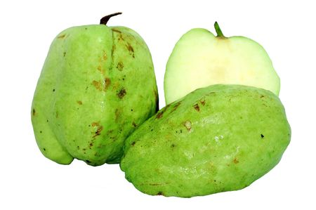 guava: seedless guava isolated on white Stock Photo