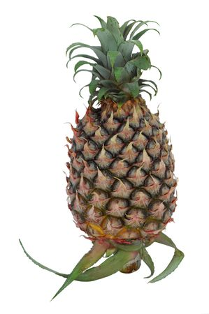 isolated green pineapple on a white background photo