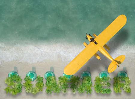 vacation scene beach and sea plane