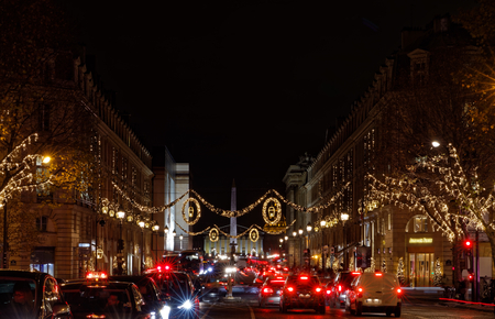 paris france december 4 2017 christmas lights in royal street near place