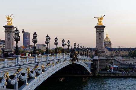 The Alexander III Bridge across Seine river in Paris, France, October 14, 2017 Editorial