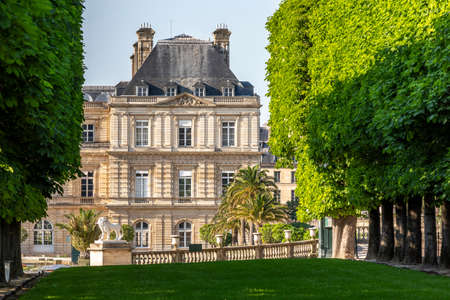 Paris, France - April 23, 2020: Luxembourg Palace and park in Paris, the Jardin du Luxembourg, one of the most beautiful gardens in Paris during lockdown due to covid-19 pandemic