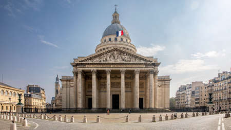 Paris, France - March 20, 2020: 1st day of containment because of Covid-19 in front of Pantheon in Paris