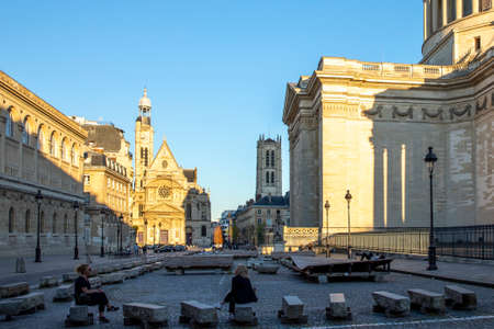 Paris, France - April 5, 2020: 20th day of containment because of Covid-19 in front of Pantheon in Paris