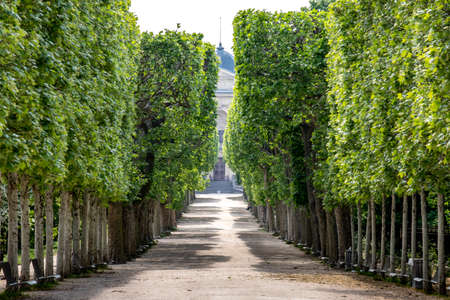 Paris, France - April 25, 2020: The Jardin des plantes (french for garden of the plants) is the main botanical garden in France. Located in Paris, it is empty due to containment measures following the coronavirus epidemic