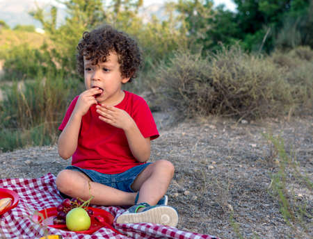 Child in the bush sitting copper red and white checkered tablecloth type picnic plate with fruit from which he eats a grape Stock Photo