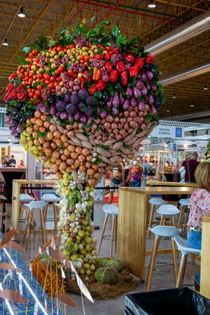 Alicante, Spain. 09-26-2021 vegetables and fruits placed in a decorative way combined together creating a multicolored spectacle.