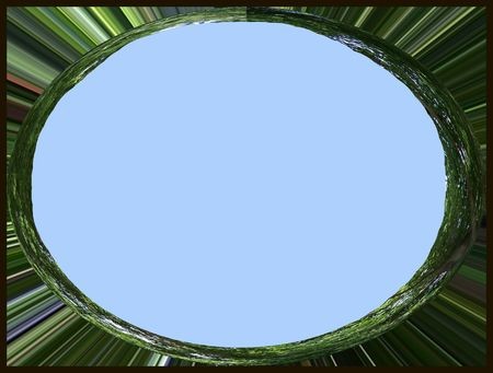 Blue and green oval frame