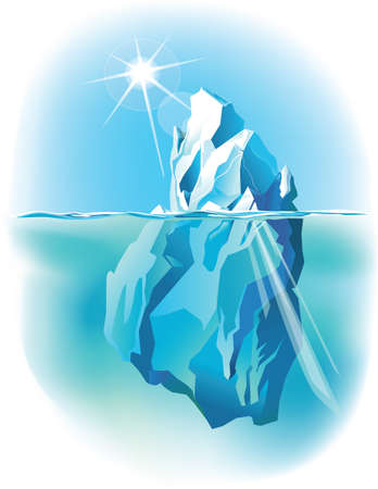 Vector iceberg under water and above water