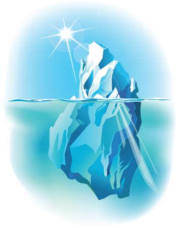 Vector ijsberg onder water en boven water
